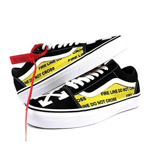 24d11378094 Amazon.com  Vans Old Skool x OFF White Custom Handmade Uni-Sex Shoes By  Patch Collection  Handmade
