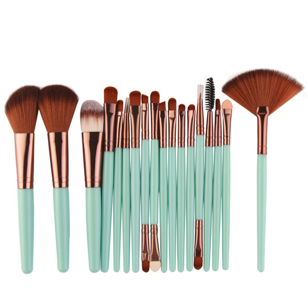 Paymenow New 18 Pieces Makeup Brush Set Tools Foundation Face Powder Blush Eyeshadow Brushes (Green)