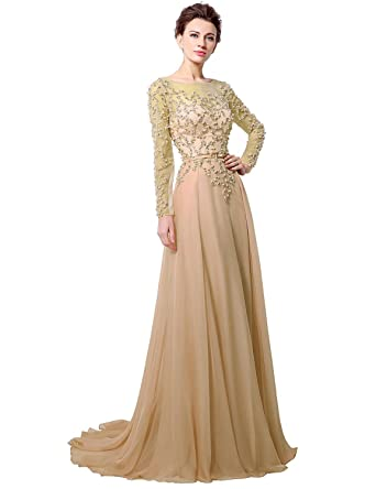 Sarahbridal Damen Lang Chiffon Ballkleid Langarm Partykleider Perlen  Paillette Abendkleider SLX051  Amazon.de  Bekleidung ce2fa2a109