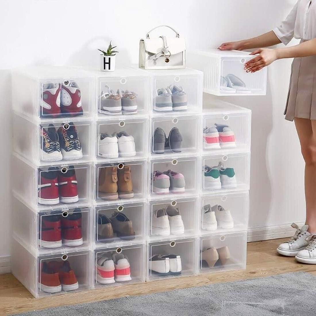 FLM Cajas de Almacenaje Plegable Juego de 3 Cajas de Zapatos Apilable Pl/ástico Transparente para Hombre y Mujer,33.5 x 23.5 x 14 cm