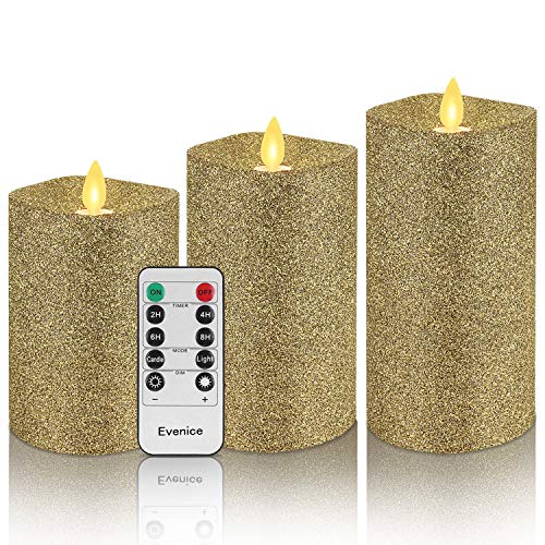 Evenice Glitter Gold Flickering Flameless Candles with Timer and Remote (Set of 3)