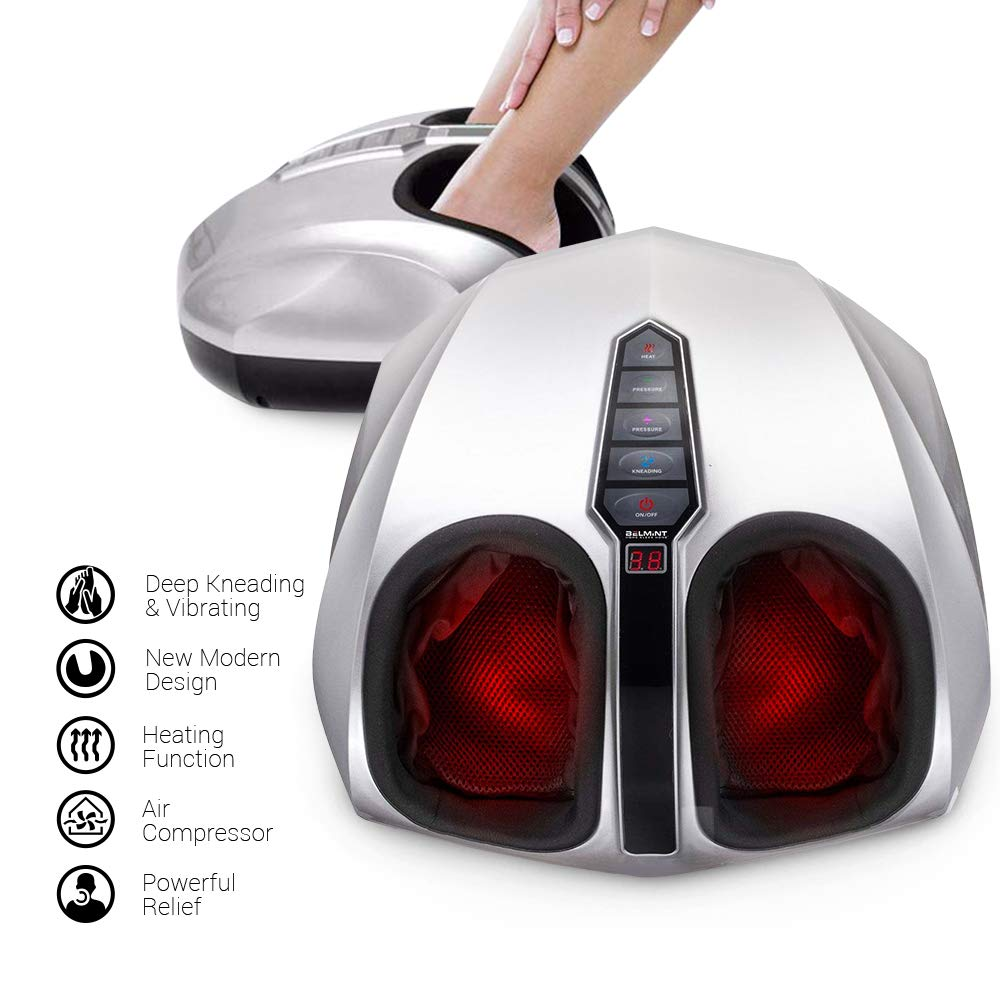 Belmint Shiatsu Foot Massager Machine with Heat Function, Multi Settings Deep-Kneading Shiatsu Therapy Feet Massager – (Silver)