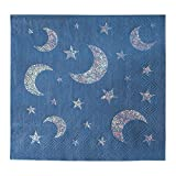 Cocktail Napkins - 50-Pack Luncheon Napkins, Disposable Paper Napkins Party Supplies, 3-Ply, Moon and Stars, Silver Glitter Print, Unfolded 10 x 10 Inches, Folded 5 x 5 Inches