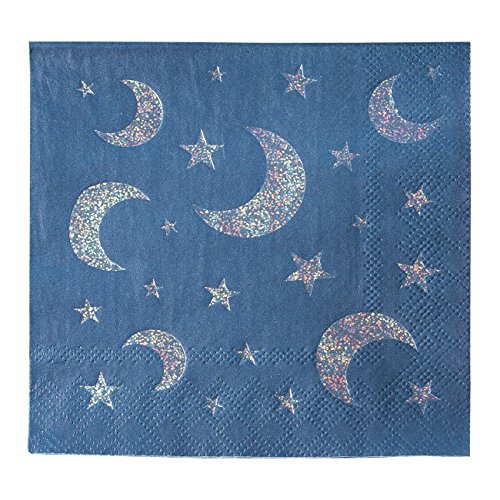 - Cocktail Napkins - 50-Pack Luncheon Napkins, Disposable Paper Napkins Party Supplies, 3-Ply, Moon and Stars, Silver Glitter Print, Unfolded 10 x 10 Inches, Folded 5 x 5 Inches