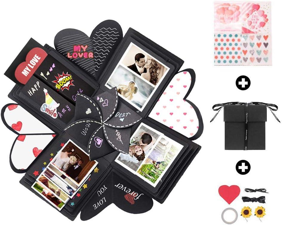 Caja de explosión hecha a mano, caja de regalo, álbum de fotos, caja de regalo para cumpleaños, boda, aniversario, fiesta, día de San Valentín, Navidad, regalo sorpresa para hombres y mujeres amigas.