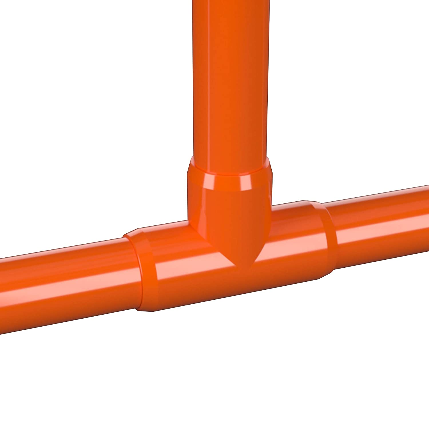 FORMUFIT F114TEE-OR-4 Tee PVC Fitting Furniture Grade Pack of 4 Orange 1-1//4 Size