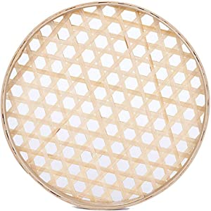 "100% Handwoven Flat Wicker Round Fruit Basket Woven Food Storage Weaved Shallow Tray Organizer Holder Bowl Decorative Rack Display Kids DIY Drawing Board (Hexagon Hollow-Bamboo-White, 18cm/7"")"
