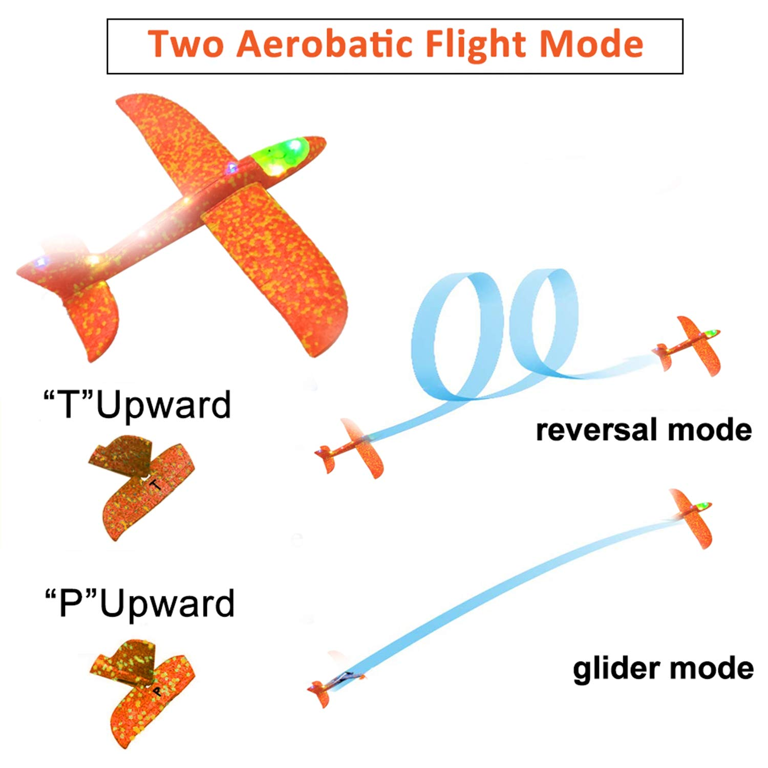 Airplane Toys Throwing Foam Plane, 13.5'' Inch LED Light Up Glider Airplane Model Toy with Dual Flight Mode Challenging Outdoor Plane Jet Sports Game Flying Toys Gift for Kids Toddlers Teens (2 Pack) by AMENON (Image #1)