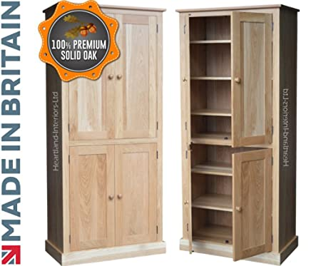 Contemporary 4 Door Solid Oak Pantry-Linen-Larder-Kitchen Storage Cupboard Heartland & Contemporary 4 Door Solid Oak Pantry-Linen-Larder-Kitchen Storage ...