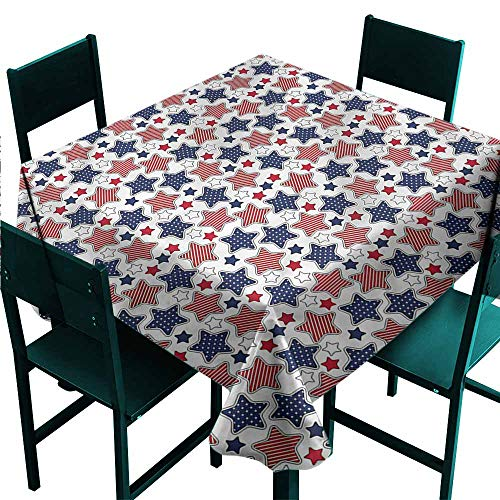 - DONEECKL Square Tablecloth 4th of July Patriotic Stars Pattern Picnic W36 xL36
