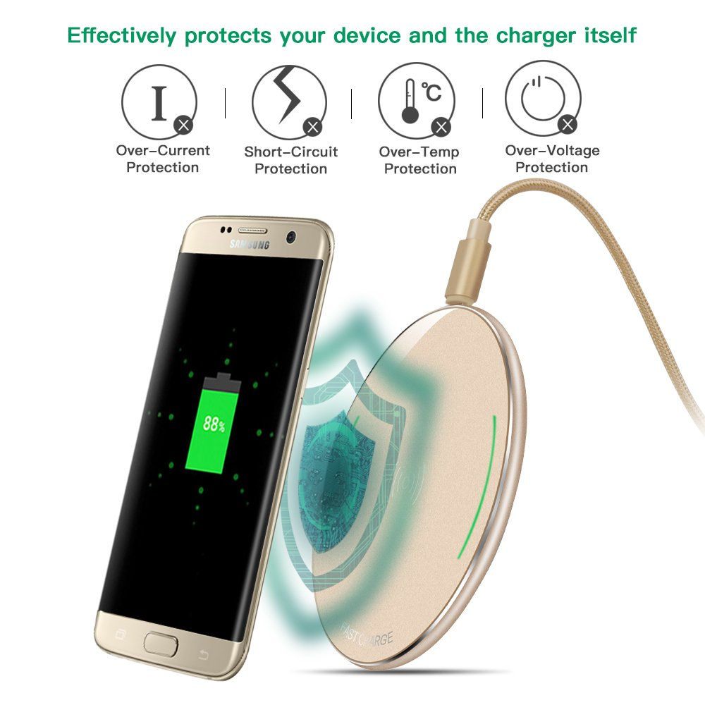 S6 r/ápido y/port/átil para Samsung Galaxy S8 S7/Edge Cargador Qi inal/ámbrico Galaxy Note 5 y Nexus 4//5//6//7 S6/Edge Plus S7 S6/Edge