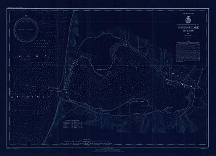 Portage Lake Michigan Map.Amazon Com Vintography Blueprint Style 8 X 12 Nautical Map Of