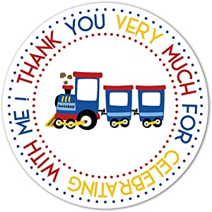 Train Birthday Party Thank Stickers, 40-Pack 2
