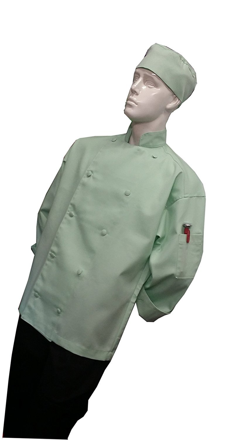 Chefskin Chef Jacket Adult Extra Small Xs 40in Mint Green