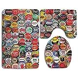 HOMESTORES 3 Piece Bathroom Rug Set - World Beer Bottle Caps Set Skidproof Toilet Bath Rug Mat U Shape Contour Lid Cover For Shower Spa