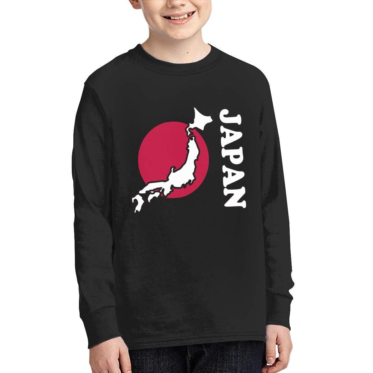 Teenagers Teen Boy Japan Flag Map Printed Long Sleeve 100/% Cotton Tee Shirt