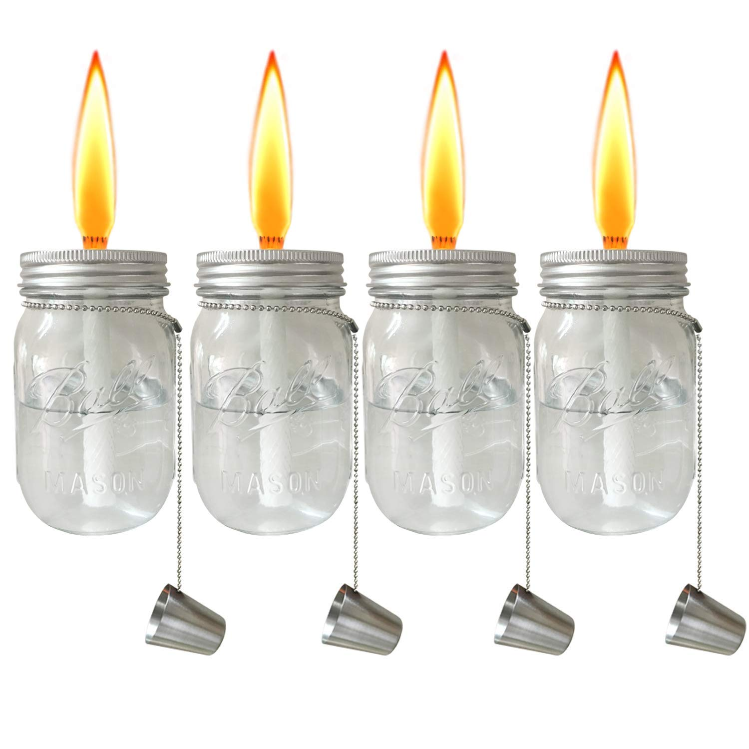 Aubasic Glass Mason Jar Table Torch,Fiberglass Wicks,Stainless Steel Lid with Fire Cover Caps,6-inch High,Clear,Set of 4