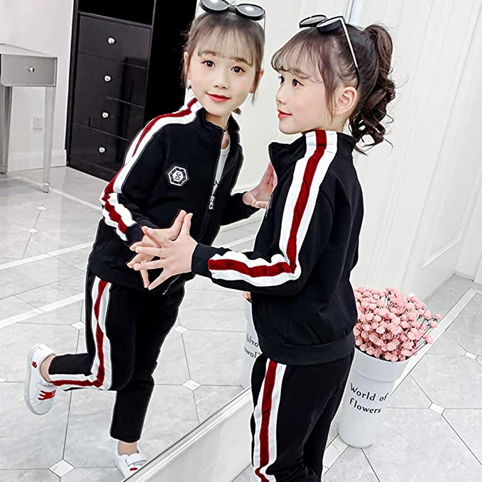 Hooded Jacket + Long Sleeve T-Shirt + Bottoms or Hooded Jacket + Bottoms LPATTERN Kids Girls Cotton Tracksuit Jogging Suit Casual Sportswear 2//3pcs Sport Outfits Set