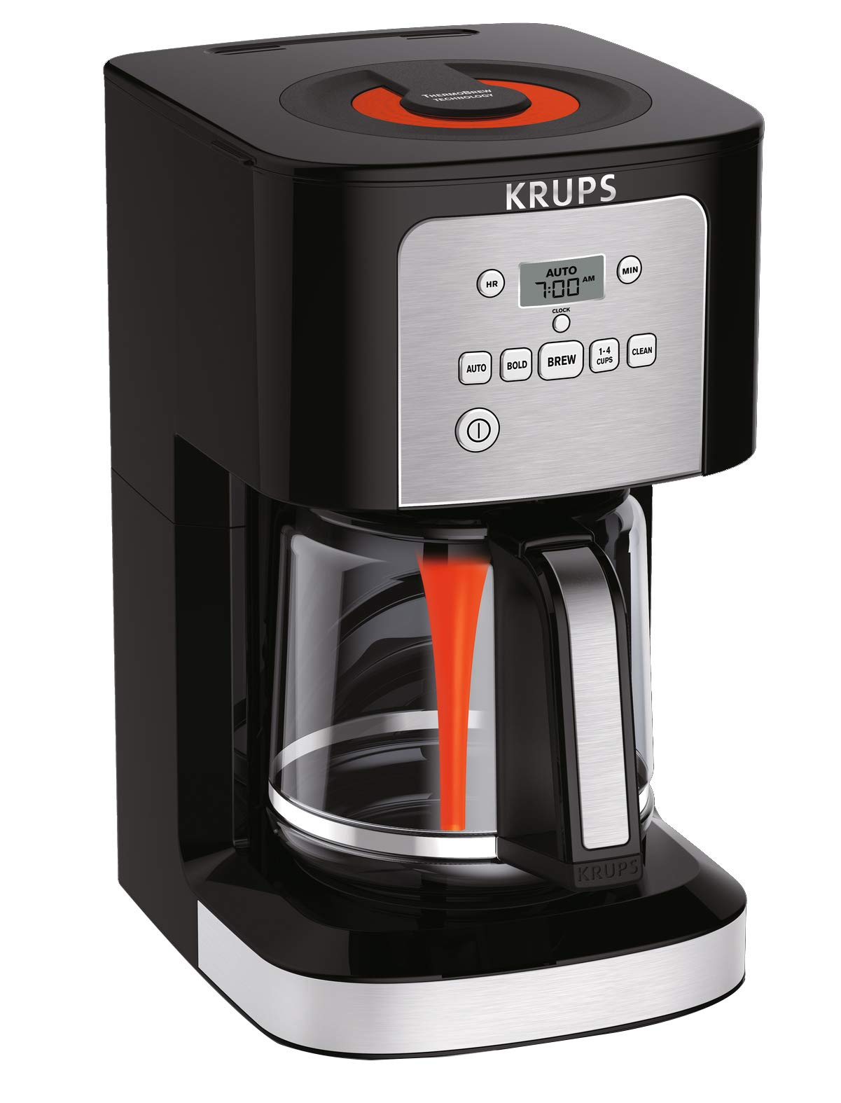 KRUPS EC321 Coffee Machine, 12-Cup Programmable Coffee Maker, Professional Permanent Gold-Tone, Thermobrew Technology, Black
