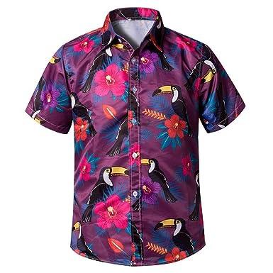 Camisa Hawaiana para Hombre, Manga Corta, de con Estilos para ...