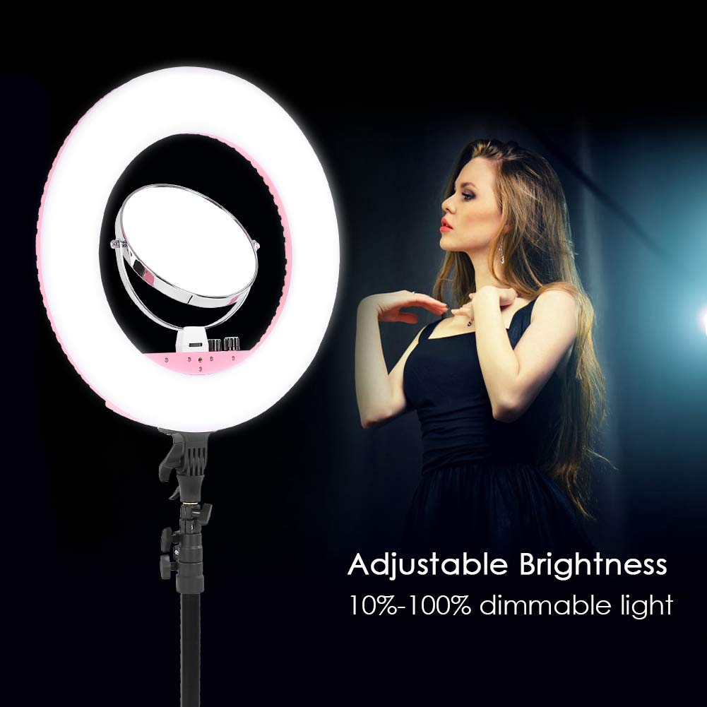 LED Live Streaming Ring Light with Tripod for Portrait Video Vlog Makeup Dimmable Tabletop Makeup Ring Light with Adjustable Color Temperature US-Pink Ring Light