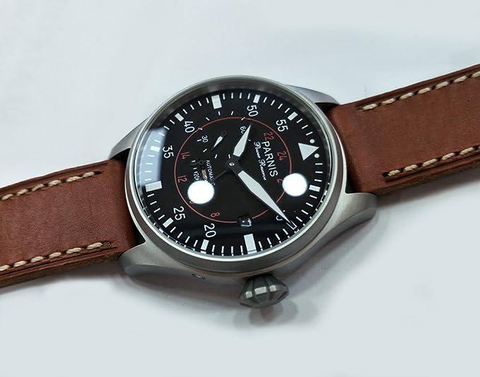 PARNIS 47 mm negro Dial Fecha Potencia reserva Gaviota GMT Automático Reloj para hombre: Amazon.es: Relojes