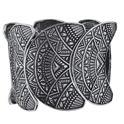 Lux Accessories Burnished Silvertone Wide Aztec Tribal Stretch Bracelet from Lux Accessories