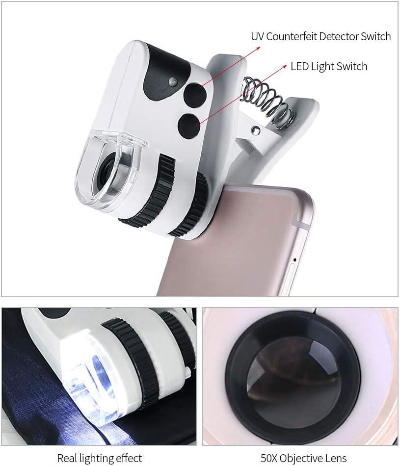 KKmoon Microscopio 50X 15mm LED per Cellulare Microcircuito Ricaricabile Tipo Universale Clip-type Microscopio per Microscopio con Lampada LED//Luce UV//Cavo USB Ingranditore
