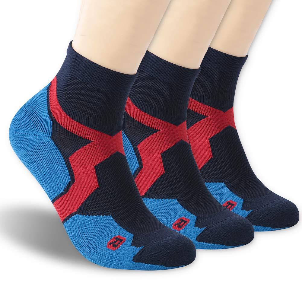 Trail Running Socks, ZEALWOOD Athletic Running Socks for Men and Women,Merino Wool Low Cut Antibacterial Wicking Socks 3 Pairs-Blue Black