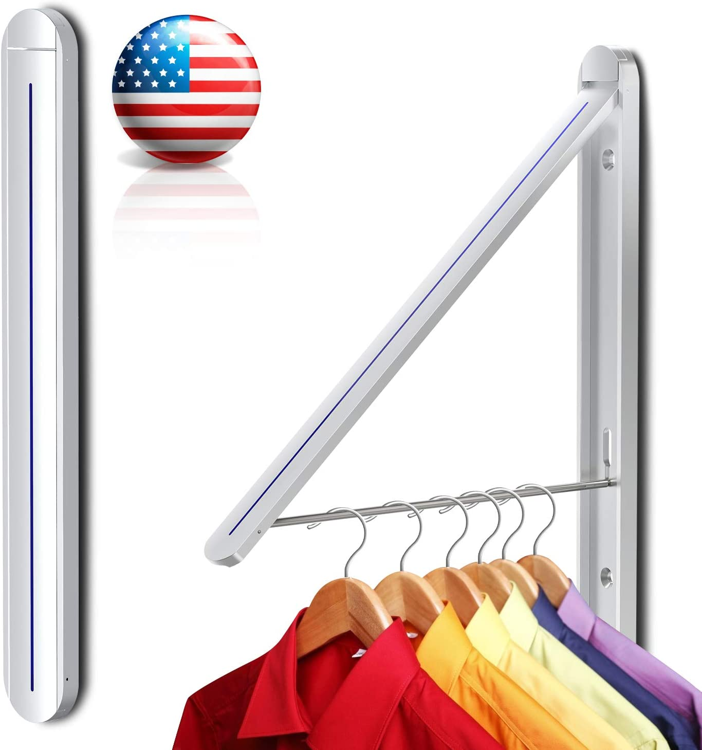 Aluminum Easy Installation Retractable Clothes Rack Wall Mounted Folding Clothes Hanger Drying Rack for Laundry Room Closet Storage Organization Dry or Freshen Clothes Outside (Silver)