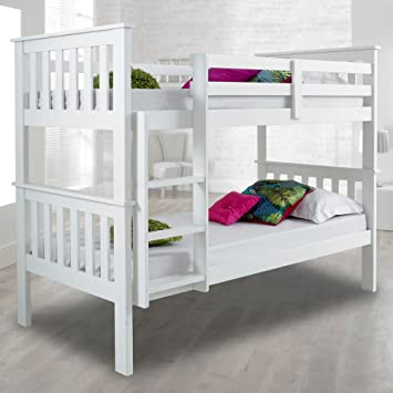 Atlantis Pinewood White Bunk Bed Two Sleeper Quality Solid Pine Wood Frame