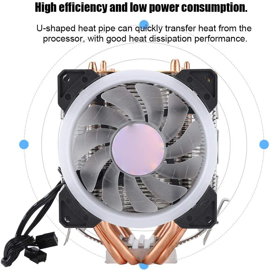2200 RPM 22dBA 12VDC 3pin Colorful Light Double Fan 4 Copper Tube CPU Cooling Radiator Cooler for Intel LGA 775//1155//1156//1366 for AMD AM2AM2+//AM3 9cm CPU Cooling Fan