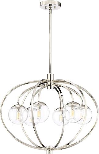 Craftmade 45526-PLN Piltz Orb Chandelier Lighting, 6-Light, 240 Watts, Polished Nickel 30 W x 24 H
