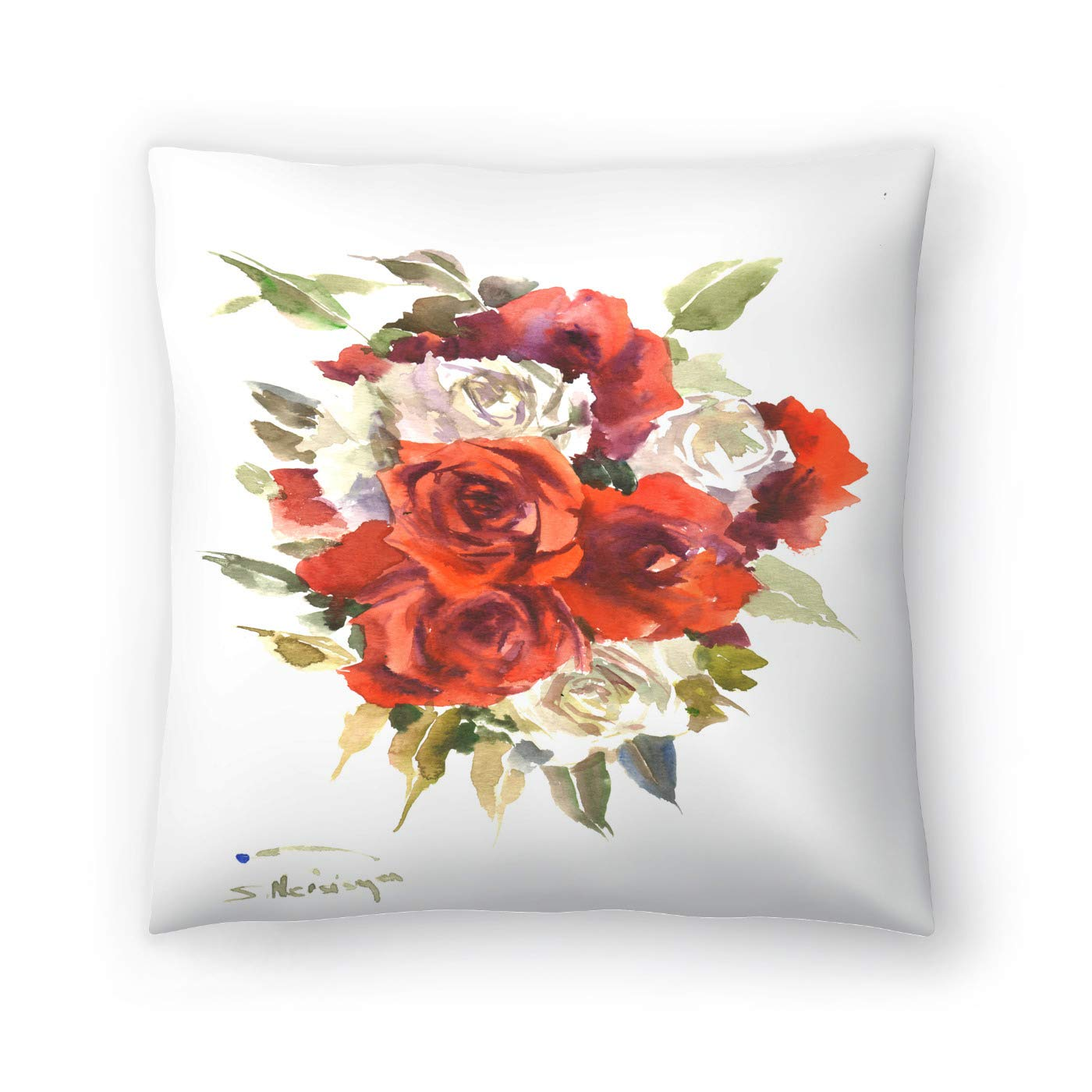 Buy American Flat Red And White Roses Pillow By Suren Nersisyan 20 X 20 Online At Low Prices In India Amazon In