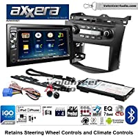 Volunteer Audio Axxera AVN6558BT Double Din Radio Install Kit with Navigation Bluetooth CD/DVD Player Fits 2003-2007 Honda Accord (Factory climate controls)