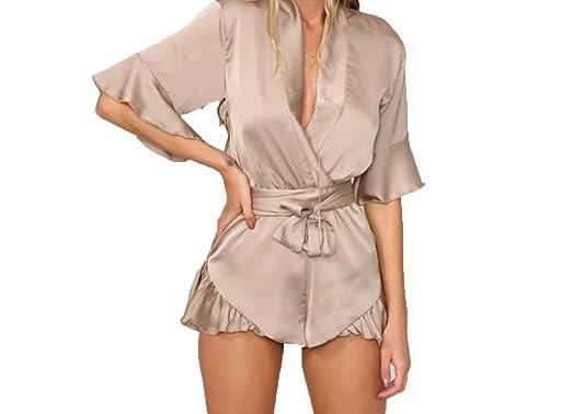 6f22e61aca89 Amazon.com  Runway Khaki Silk Playsuit  Clothing
