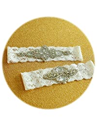 Slocyclub Bride Ribbon and Rhinestones Handmade White Wedding Garter Set