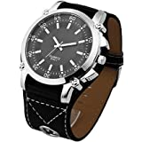 Men's Cool Fashion Oversized Big Face Black Leather Strap Analog Quartz Wrist Watch