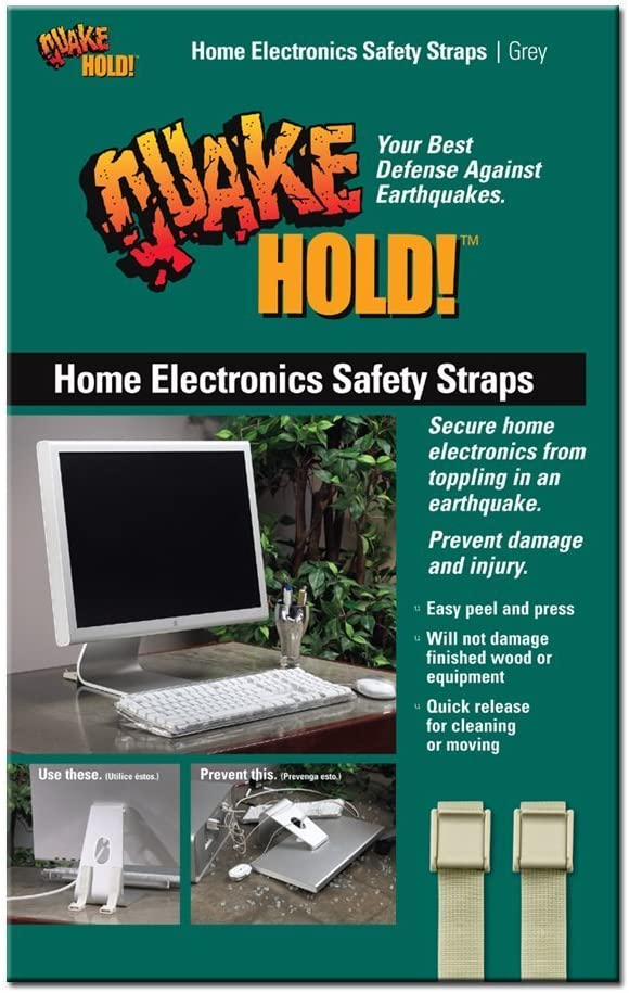 QuakeHold! 4172 Home Electronic Safety Strap, Grey
