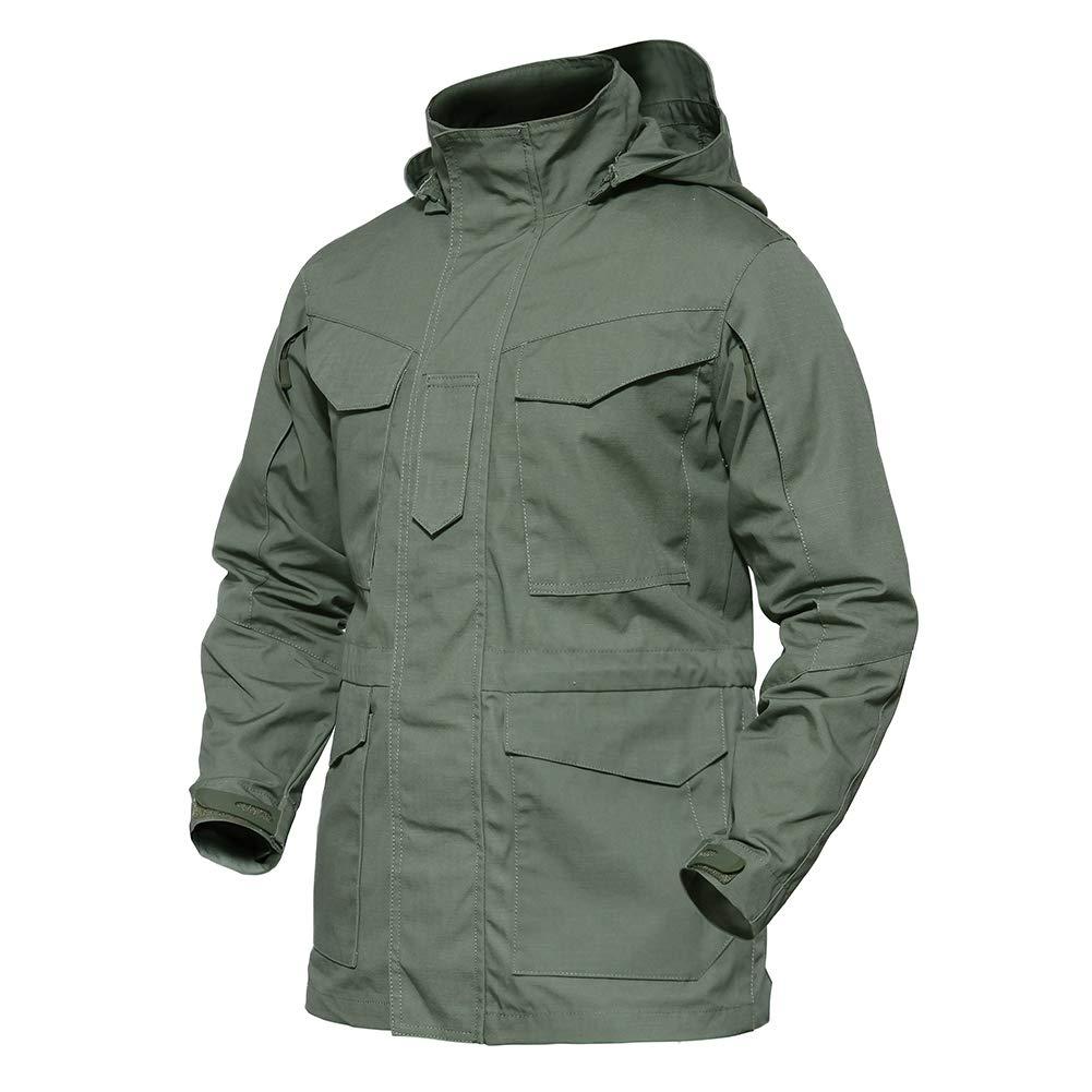 TACVASEN Men's M-65 Field Hoody Cotton Blend Travel Jacket Coat Windbreaker Outwear Army Green