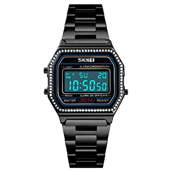 Amazon.com: Relojes de lujo para mujer, de acero completo ...