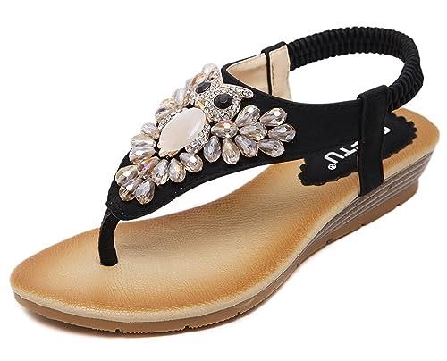 02e488510c37 Amazon.com   MayBest Women Bohemian Beaded Elastic Wedge Heel Clip ...