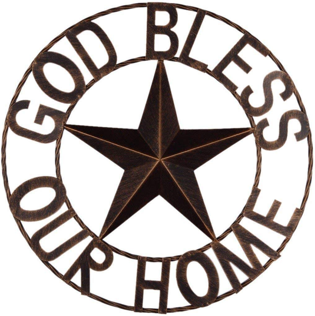 EBEI 18 Metal Barn Star Western Home Wall Decor Antique Circle Dark Brown Texas Lone Star with Letters God Bless Our Home