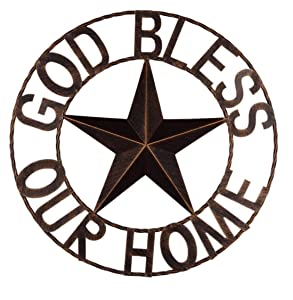 "EBEI 18"" Metal Barn Star Western Home Wall Decor Antique Circle Dark Brown Texas Lone Star with Letters God Bless Our Home"