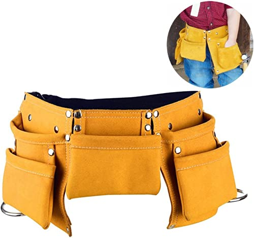Fellibay Double Tool Belt Nail Tool Pouch Builders Bag Belt Storage Hammer Holder Waist Bag with 5 Pockets for Kids Children Yellow