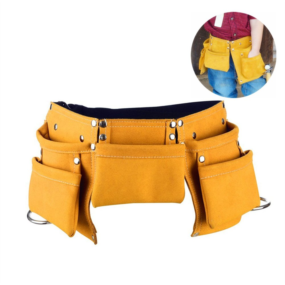Fellibay Double Tool Belt Nail Tool Pouch Builders Bag Belt Storage Hammer Holder Waist Bag with 5 Pockets for Kids Children (Yellow)