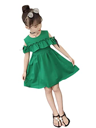 dc3c0eb03aeb5 チューカー] 女の子 子ども ワンピース ジャンパースカート 半袖 肩出し コットン 無地 蝶結び 春夏
