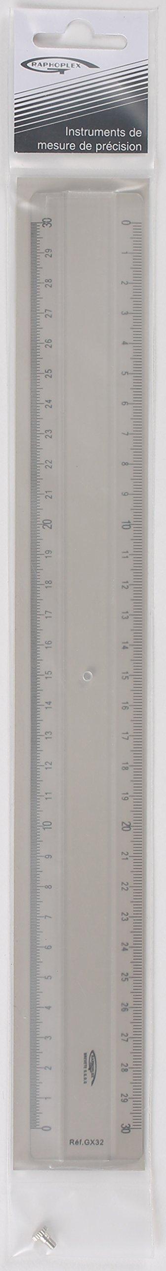 Graphoplex Ruler 2Bevels + embossment Transparent 30 cm transparent