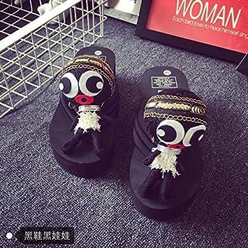 XIAMUO Puppe Hausschuhe Voodoo Puppe Flip Flop Frau Sommer Muffin Dickwandigen 39 kleine One-Side Schwarz schwarze...