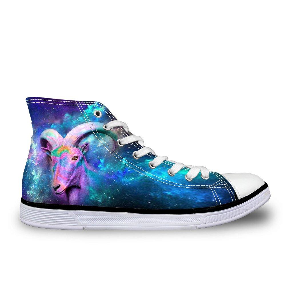 CHAQLIN Fashion Galaxy Canvas Shoes Mens Star Animals High Top Walking Sneakers US 11 D